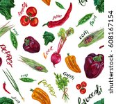 vegetables. watercolor seamless ... | Shutterstock . vector #608167154