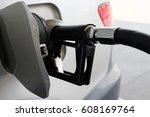 hand dispenser in the gas... | Shutterstock . vector #608169764