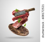 flying pieces of raw beef... | Shutterstock . vector #608172521