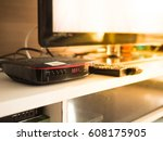 digital tv box and smart tv in...   Shutterstock . vector #608175905