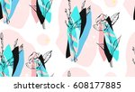 hand made vector abstract... | Shutterstock .eps vector #608177885
