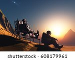 group of astronauts are on the... | Shutterstock . vector #608179961