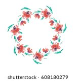 wreath of watercolor flowers... | Shutterstock .eps vector #608180279