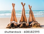 three beautiful girls on the... | Shutterstock . vector #608182595