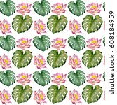 botanical watercolor seamless...   Shutterstock . vector #608184959