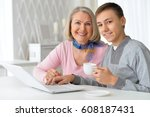 grandmother with grandson... | Shutterstock . vector #608187431
