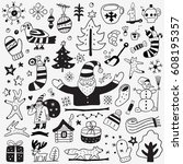 winter doodles | Shutterstock .eps vector #608195357