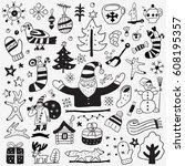 winter doodles   Shutterstock .eps vector #608195357