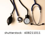 blood pressure meter and... | Shutterstock . vector #608211011