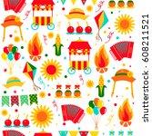 seamless pattern festa junina... | Shutterstock .eps vector #608211521