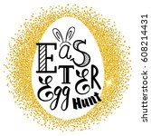 silhouette of egg and easter... | Shutterstock .eps vector #608214431