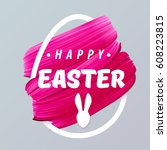 happy easter pink girly... | Shutterstock .eps vector #608223815