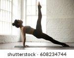 young attractive yogi woman... | Shutterstock . vector #608234744