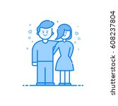 vector illustration of blue... | Shutterstock .eps vector #608237804