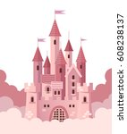 pink castle with clouds. vector ... | Shutterstock .eps vector #608238137