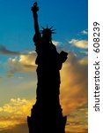 Liberty Statue Silhouette At...
