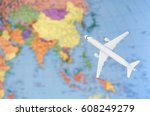 flight to asia symbolic image... | Shutterstock . vector #608249279