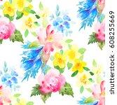 watercolor floral botanical... | Shutterstock . vector #608255669