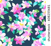 watercolor floral botanical... | Shutterstock . vector #608255681