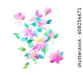 watercolor flowers illustration.... | Shutterstock . vector #608256671