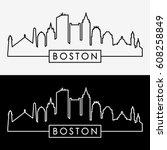 boston skyline. linear style.... | Shutterstock .eps vector #608258849