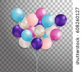set of purple  pink  silver ... | Shutterstock .eps vector #608260127