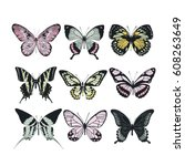 set of colorful butterflies.... | Shutterstock .eps vector #608263649