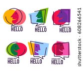 vector collection of talking ... | Shutterstock .eps vector #608266541