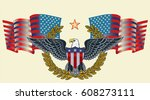american eagle with usa flags | Shutterstock .eps vector #608273111