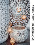 arab vase. moroccan silver... | Shutterstock . vector #608278589
