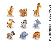 set of icons wild animal cute... | Shutterstock .eps vector #608279801