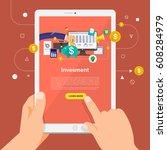 flat design concept learning... | Shutterstock .eps vector #608284979