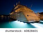 The Large White  Yacht In The...