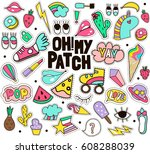 fashion patches mega big vector ... | Shutterstock .eps vector #608288039
