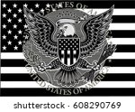 american eagle with usa flags | Shutterstock .eps vector #608290769