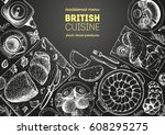 british cuisine top view frame. ... | Shutterstock .eps vector #608295275