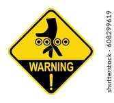 warning crushing hand sign ... | Shutterstock .eps vector #608299619