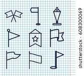 set of 9 pennant outline icons... | Shutterstock .eps vector #608300069