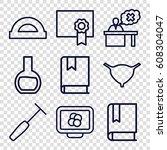 education icons set. set of 9... | Shutterstock .eps vector #608304047