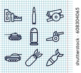 set of 9 conflict outline icons ... | Shutterstock .eps vector #608304065