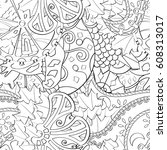 tracery seamless pattern.... | Shutterstock .eps vector #608313017