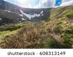a view of a mountain lake in a... | Shutterstock . vector #608313149