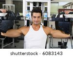 health club  guy in a gym doing ... | Shutterstock . vector #6083143