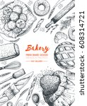 bakery top view vertical frame. ... | Shutterstock .eps vector #608314721