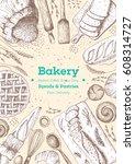 bakery top view vertical frame. ... | Shutterstock .eps vector #608314727