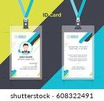 creative id card blue yellow... | Shutterstock .eps vector #608322491