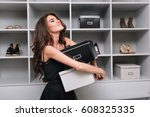 pretty young woman hugging... | Shutterstock . vector #608325335