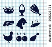 set of 9 chicken filled icons... | Shutterstock .eps vector #608325731