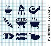 set of 9 grilled filled icons... | Shutterstock .eps vector #608332439