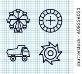 set of 4 wheel outline icons... | Shutterstock .eps vector #608336021